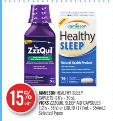 Jamieson Healthy Sleep Caplets (16's - 30's) - Vicks Zzzquil Sleep Aid Capsules (12's - 36's) or Liquid (177ml - 354ml)