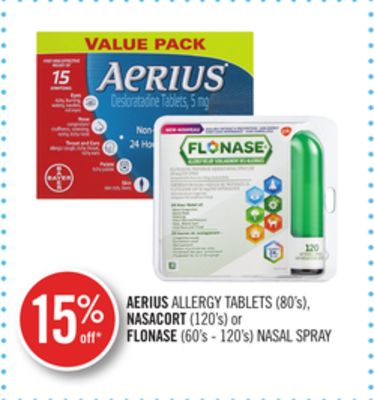 Aerius Allergy Tablets (80's) - Nasacort (120's) or Flonase (60's - 120's) Nasal Spray