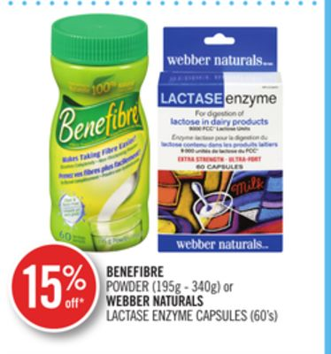 Benefibre Powder (195g - 340g) or Webber Naturals Lactase Enzyme Capsules (60's)