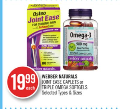 Webber Naturals Joint Ease Caplets or Triple Omega Softgels