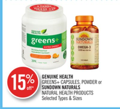 Genuine Health Greens+ Capsules - Powder or Sundown Naturals Natural Health Products