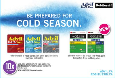 Advil Cold & Sinus Caplets - Liqui-gels (10's) or Robitussin Complete Convenience Packs (20's)