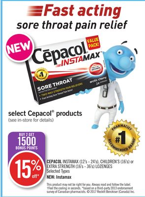 Cepacol Instamax (12's - 24's) - Children's (16's) or Extra Strength (16's - 36's) Lozenges
