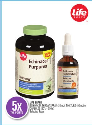 Life Brand Echinacea Throat Spray (30ml) - Tincture (50ml) or Capsules (60's - 250's)