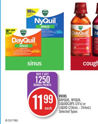 Vicks Dayquil - Nyquil Liquidcaps (24's) or Liquid (236ml - 354ml)