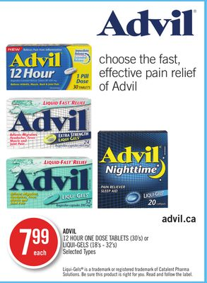Advil 12 Hour One Dose Tablets (30's) or Liqui-gels (18's - 32's)