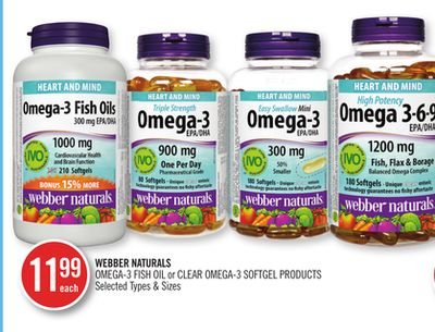 Webber Naturals Omega-3 Fish Oil or Clear Omega-3 Softgel Products