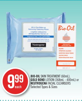 Bio-oil Skin Treatment (60ml) - Gold Bond Lotion (368ml - 400ml) or Neutrogena Facial Cleansers