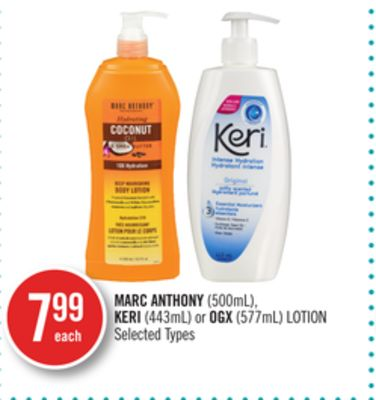 Marc Anthony (500ml) - Keri (443ml) or Ogx (577ml) Lotion
