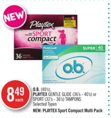 O.b.(40's) - Playtex Gentle Glide (36's - 40's) or Sport (32's - 36's) Tampons