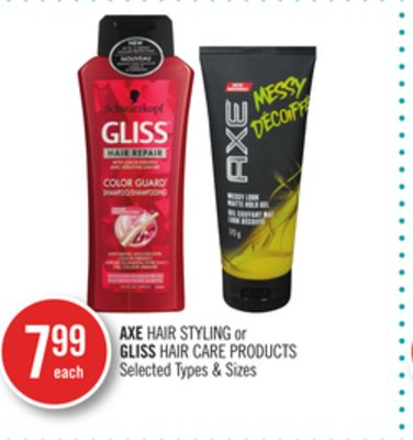 Axe Hair Styling or Gliss Hair Care Products