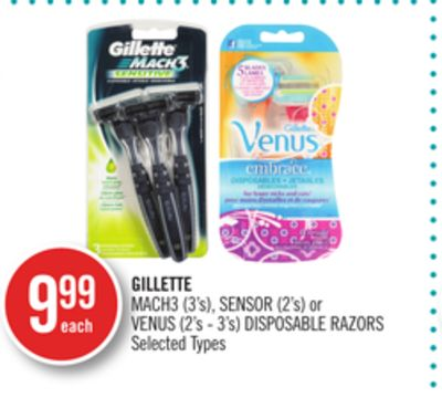Gillette Mach3 (3's) - Sensor (2's) or Venus (2's - 3's) Disposable Razors