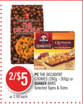PC The Decadent Cookies (280g - 300g) or Quaker Bars