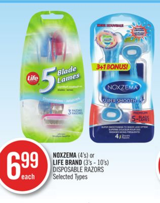 Noxzema (4's) or Life Brand (3's - 10's) Disposable Razors