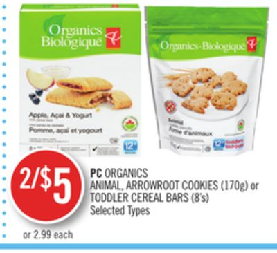 PC Organics Animal - Arrowroot Cookies (170g) or Toddler Cereal Bars (8's)