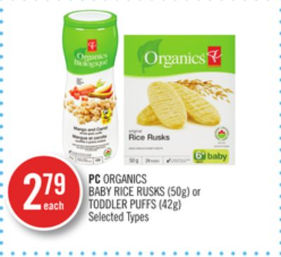 PC Organics Baby Rice Rusks (50g) or Toddler Puffs (42g)
