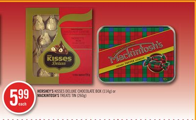 Hershey's Kisses Deluxe Chocolate Box (114g) or Mackintosh's Treats Tin (260g)