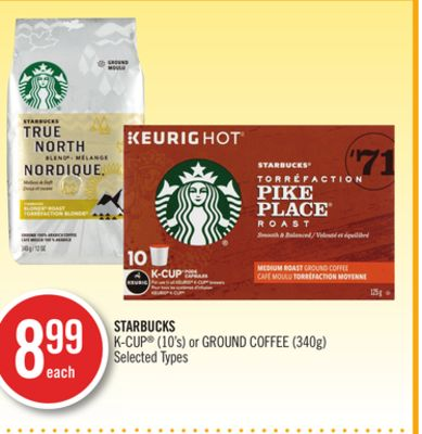 Starbucks K-cup (10's) or Ground Coffee (340g)