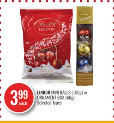 Lindor Mini Balls (100g) or Ornament Box (60g)