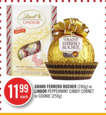 Grand Ferrero Rocher (240g) or Lindor Peppermint Candy Cornet or Cookie (250g)