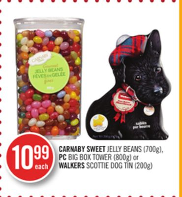 Carnaby Sweet Jelly Beans (700g) - PC Big Box Tower (800g) or Walkers Scottie Dog Tin (200g)