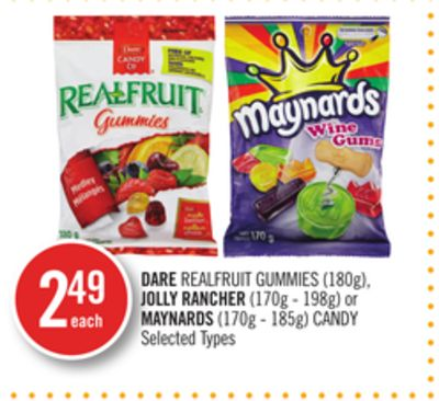 Dare Realfruit Gummies (180g) - Jolly Rancher (170g - 198g) or Maynards (170g - 185g) Candy