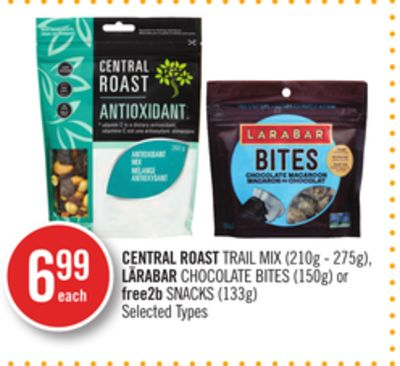 Central Roast Trail Mix (210g - 275g) - Lärabar Chocolate Bites (150g) or Free2b Snacks (133g)