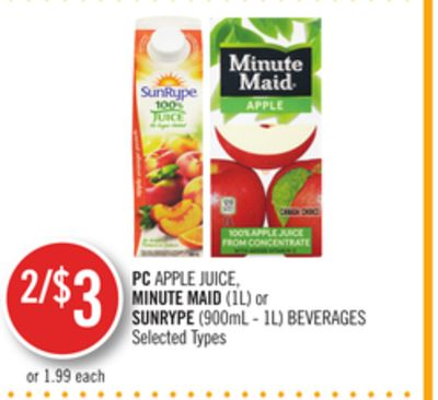 PC Apple Juice - Minute Maid (1l) or Sunrype (900ml - 1l) Beverages