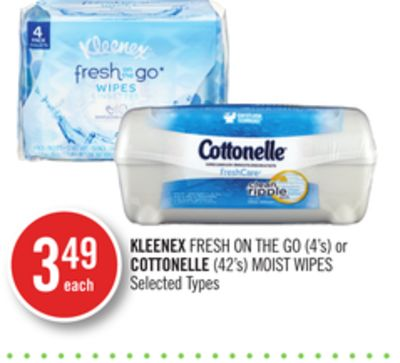Kleenex Fresh On The Go (4's) or Cottonelle (42's) Moist Wipes