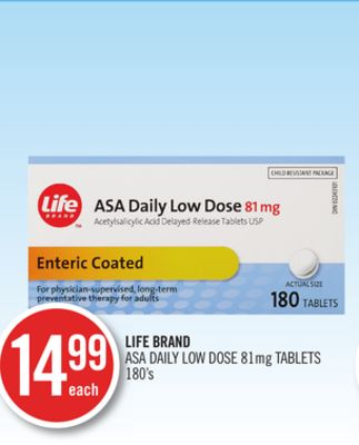 Life Brand Asa Daily Low Dose 81mg Tablets 180's