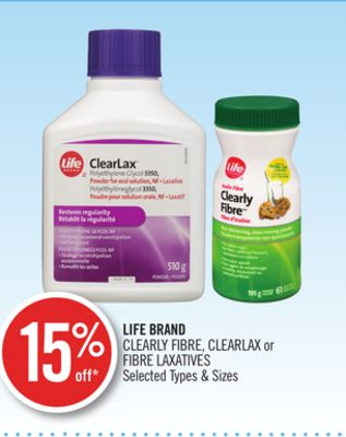 Life Brand Clearly Fibre - Clearlax or Fibre Laxatives