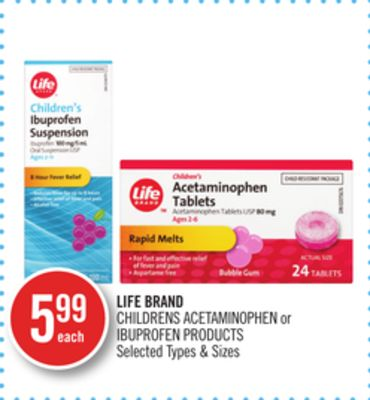 Life Brand Childrens Acetaminophen or Ibuprofen Products