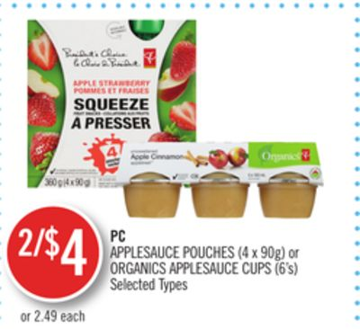 PC Applesauce Pouches (4 X 90g) or Organics Applesauce Cups (6's)