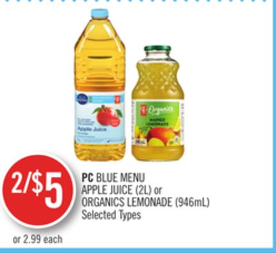 PC Blue Menu Apple Juice (2l) or Organics Lemonade (946ml)