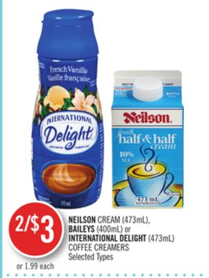 Neilson Cream (473ml) - Baileys (400ml) or International Delight (473ml) Coffee Creamers