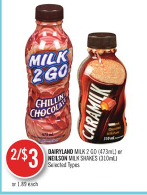 Dairyland Milk 2 Go (473ml) or Neilson Milk Shakes (310ml)