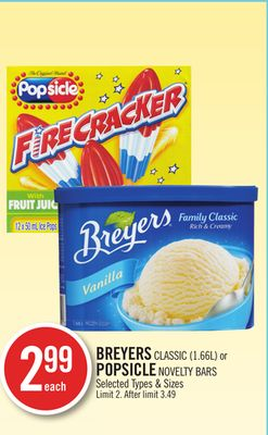 Breyers Classic or Popsicle Novelty Bars
