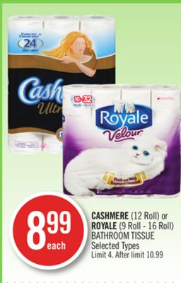 Cashmere (12 Roll) or Royale (9 Roll - 16 Roll) Bathroom Tissue