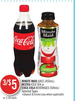 Minute Maid Juice (450ml) - Nestea Iced Tea or Coca-cola Beverages (500ml)