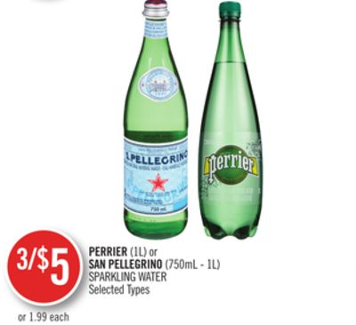 Perrier(1l) or San Pellegrino (750ml - 1l) Sparkling Water