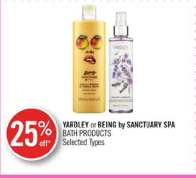 Yardley or Being By Sanctuary Spa Bath Products