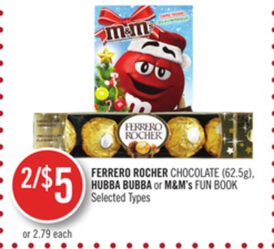 Ferrero Rocher Chocolate (62.5g) - Hubba Bubba or M&m's Fun Book