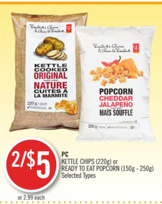 PC Kettle Chips (220g) or Ready To Eat Popcorn (150g - 250g)