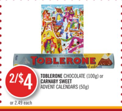 Toblerone Chocolate (100g) or Carnaby Sweet Advent Calendars (50g)