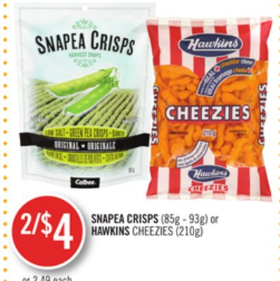 Snapea Crisps (85g - 93g) or Hawkins Cheezies (210g)