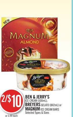 Ben & Jerry's Ice Cream (500ml) - Breyers Gelato (842ml) or Magnum Ice Cream Bars