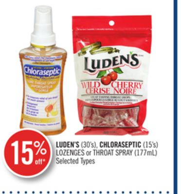 Luden's (30's) - Chloraseptic (15's) Lozenges or Throat Spray (177ml)