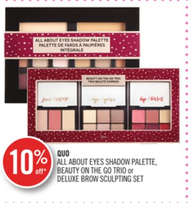 Quo All About Eyes Shadow Palette - Beauty On The Go Trio or Deluxe Brow Sculpting Set