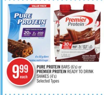 Pure Protein Bars (6's) or Premier Protein Ready To Drink Shakes (4's)