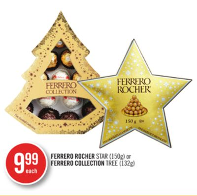 Ferrero Rocher Star (150g) or Ferrero Collection Tree (132g)